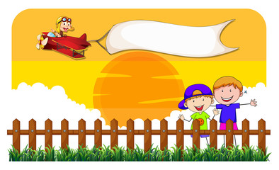 Children behind the fence and airplane