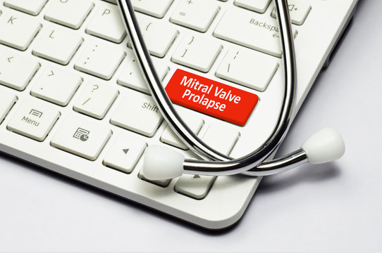 Keyboard, Mitral valve prolapse text and Stethoscope