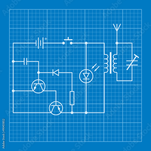 Electronic circuit scheme blueprint background stock image and electronic circuit scheme blueprint background malvernweather Choice Image