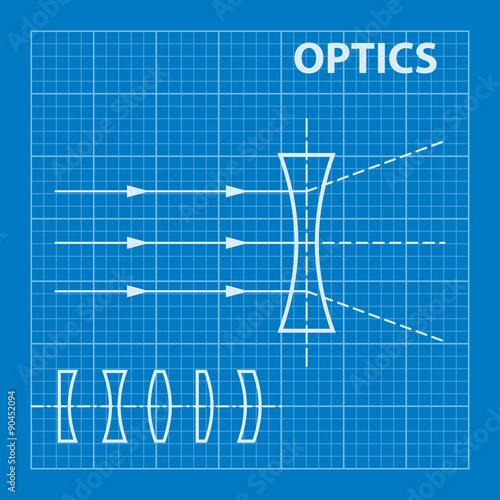 Infographic physics geometrical optics on blueprint background geometrical optics on blueprint background vector illustration malvernweather Gallery