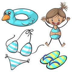 Girl in bikini and swimming set
