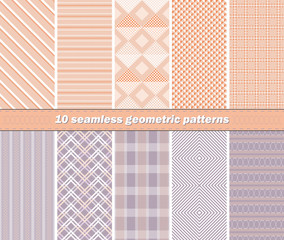 10 seamless abstract geometric patterns in orange and lilac