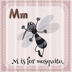 Flashcard of M is for mosquito