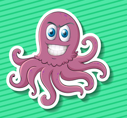 Sticker of purple octopus