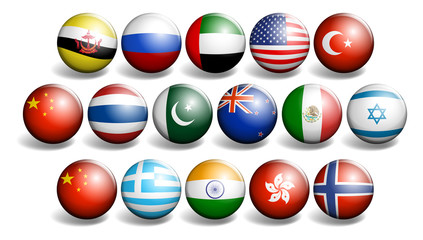 Different country flags on round ball