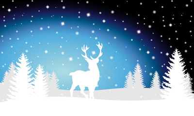 Weihnachtliche Landschaft mit Rentier - Vektor
