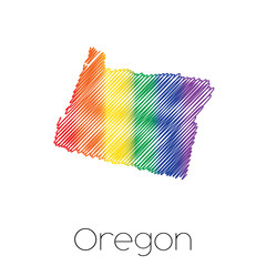 LGBT Scribbled shape of the State of Oregon