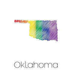 LGBT Scribbled shape of the State of Oklahoma