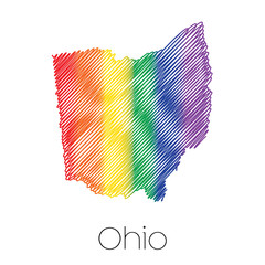 LGBT Scribbled shape of the State of Ohio
