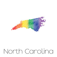 LGBT Scribbled shape of the State of North Carolina