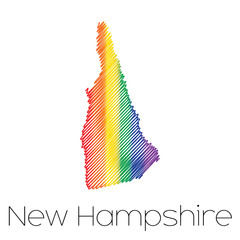 LGBT Scribbled shape of the State of New Hampshire