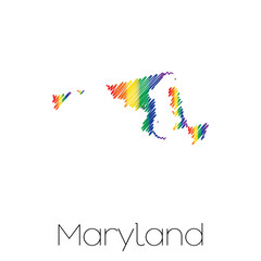 LGBT Scribbled shape of the State of Maryland