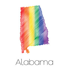 LGBT Scribbled shape of the State of Alabama