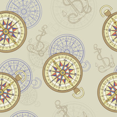 Seamless background with compass and anchor