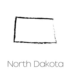 Scribbled shape of the State of North Dakota