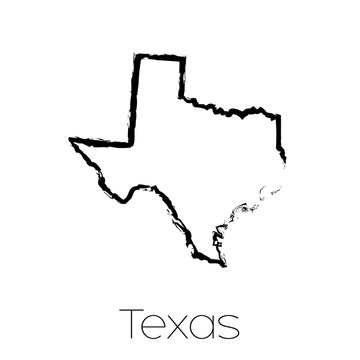 Scribbled shape of the State of Texas
