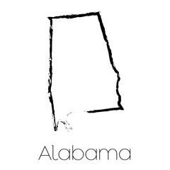 Scribbled shape of the State of Alabama