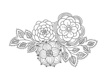 Doodle art flowers.  Zentangle floral pattern. Hand drawn herbal design elements.