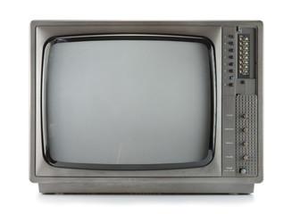 Vintage television isolate on white ,retro tecnology