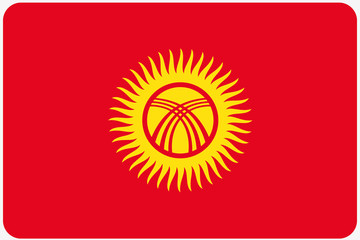 Flag Illustration with rounded corners of the country of Kyrghyz