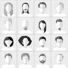 Flat people icons. Set of stylish monochrome people icons on