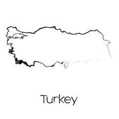 Scribbled Shape of the Country of Turkey