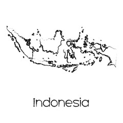 Scribbled Shape of the Country of Indonesia