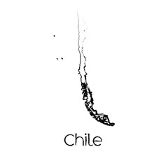 Scribbled Shape of the Country of Chile