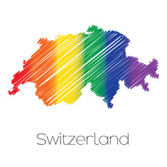 LGBT Coloured Scribbled Shape of the Country of Switzerland