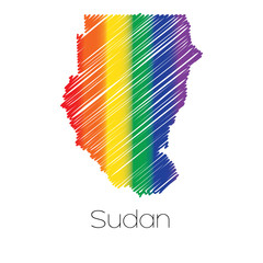 LGBT Coloured Scribbled Shape of the Country of Sudan