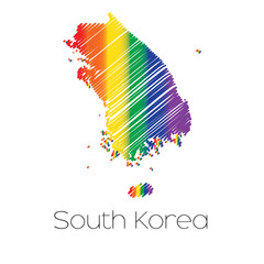 LGBT Coloured Scribbled Shape of the Country of South Korea
