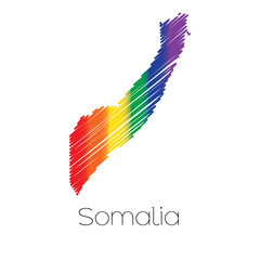 LGBT Coloured Scribbled Shape of the Country of Somalia