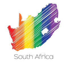 LGBT Coloured Scribbled Shape of the Country of South Africa