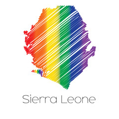 LGBT Coloured Scribbled Shape of the Country of Sierra Leone