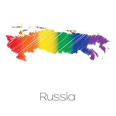 LGBT Coloured Scribbled Shape of the Country of Russia