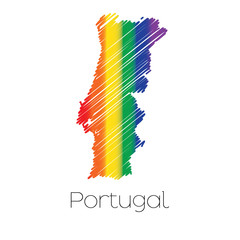LGBT Coloured Scribbled Shape of the Country of Portugal