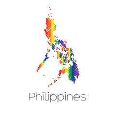 LGBT Coloured Scribbled Shape of the Country of Philippines