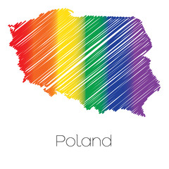 LGBT Coloured Scribbled Shape of the Country of Poland