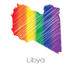 LGBT Coloured Scribbled Shape of the Country of Libya