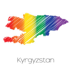 LGBT Coloured Scribbled Shape of the Country of Kyrgyzstan