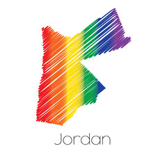 LGBT Coloured Scribbled Shape of the Country of Jordan