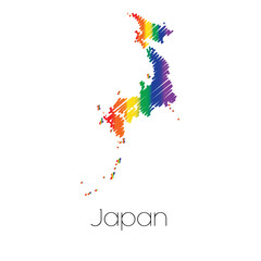 LGBT Coloured Scribbled Shape of the Country of Japan