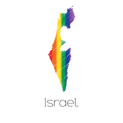 LGBT Coloured Scribbled Shape of the Country of Israel