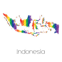 LGBT Coloured Scribbled Shape of the Country of Indonesia