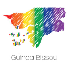 LGBT Coloured Scribbled Shape of the Country of Guinea Bissau