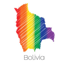 LGBT Coloured Scribbled Shape of the Country of Bolivia