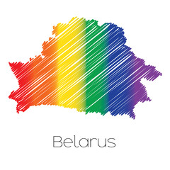 LGBT Coloured Scribbled Shape of the Country of Belarus