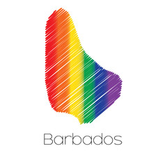 LGBT Coloured Scribbled Shape of the Country of Barbados