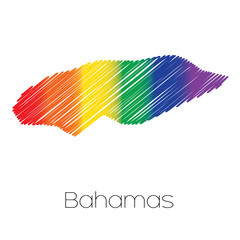 LGBT Coloured Scribbled Shape of the Country of Bahamas