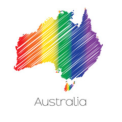 LGBT Coloured Scribbled Shape of the Country of Australia